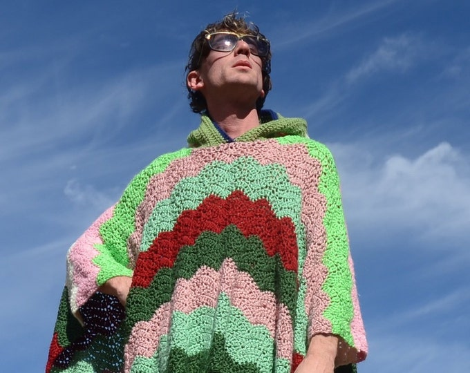 Crochet Poncho Pink White and Green Stripes