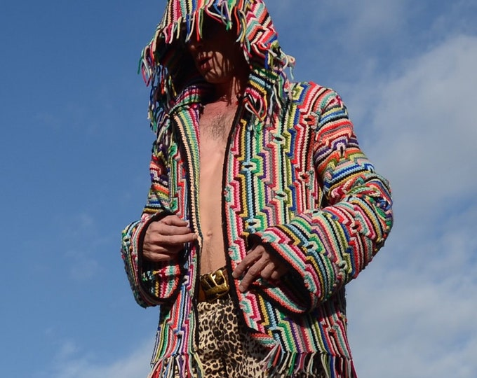 Crochet Sweater Psychedelic Apache Stripes and Hoody