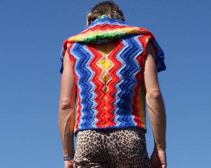 Crochet Vest Sleeveless Rainbow Chevrons