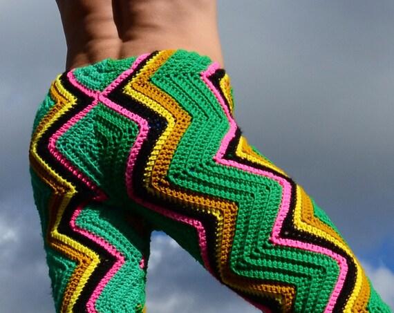 Crochet Pants Hot Pink Lightning Green Stretch Pants