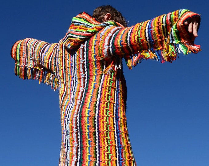 Crochet Sweater Hoodie Southwest Multicolor Stripes and Fringe