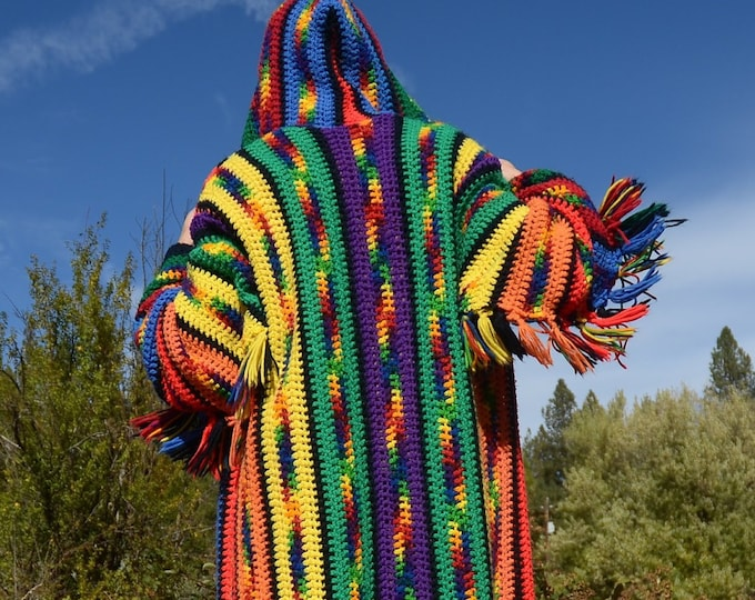 Crochet Sweater Hoodie Rainbow Southwest Stripes XL
