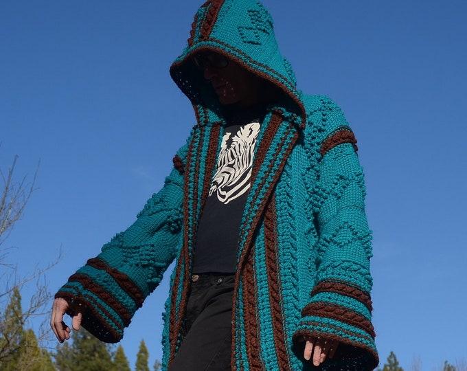 Crochet Sweater Hoodie Turquoise PopCorn Diamonds