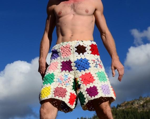 Crochet Shorts Rainbow Squares on White XXL