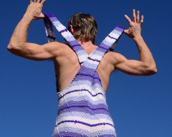 Crochet Overalls Shorts Purple Stripes L