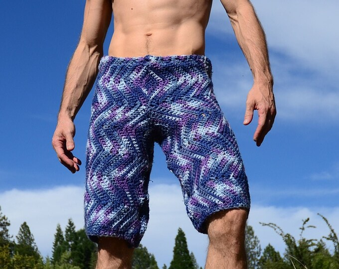 Crochet Shorts Variegated Purple and Blue Camouflage