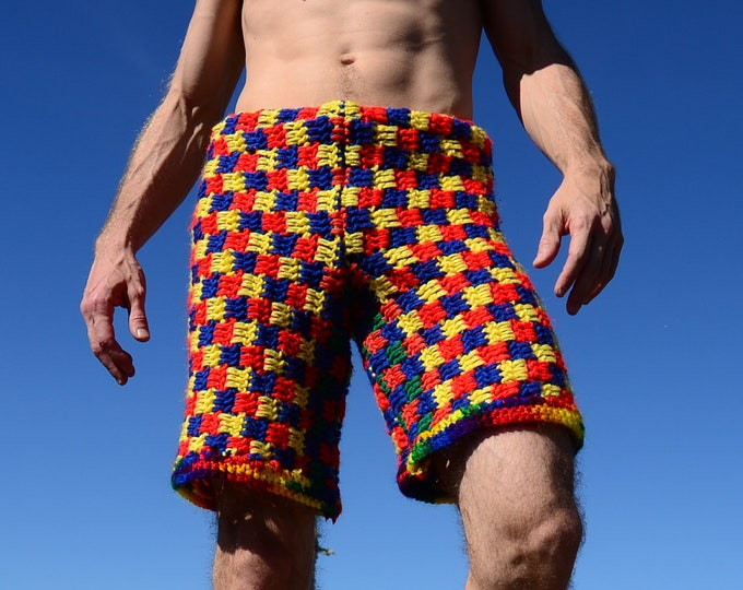 Crochet Shorts Multicolor Checkerboard Rainbows