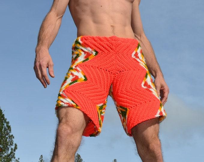 Crochet Shorts Variegated Flaming Chevrons