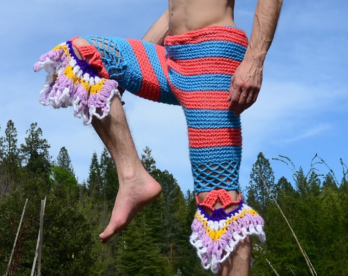 Crochet Pantaloons Blue Stripes and Ruffles S