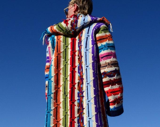 Crochet Sweater Hoodie Multicolor Apache Stripe Robe