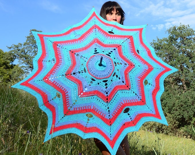 Crochet Parasol Shades of Watermelon and Turquoise