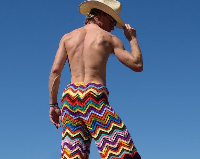 Crochet Shorts Multicolor Chevrons XL