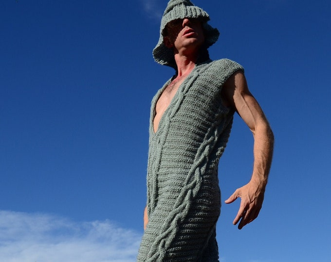 Knit Onesie Gray Cable Jumpsuit