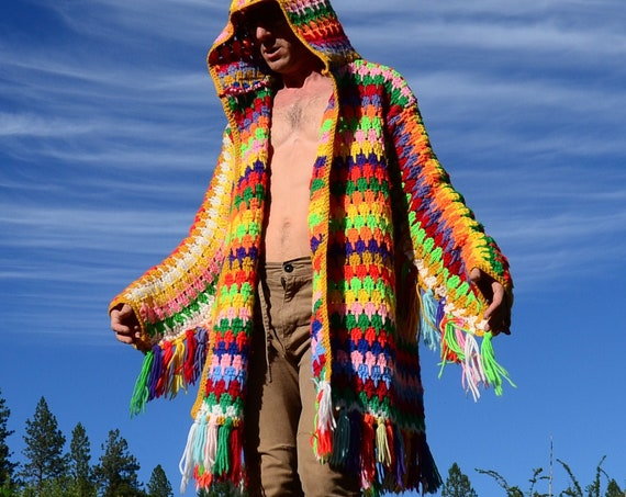 Crochet Sweater Hoodie Multicolor Fringe