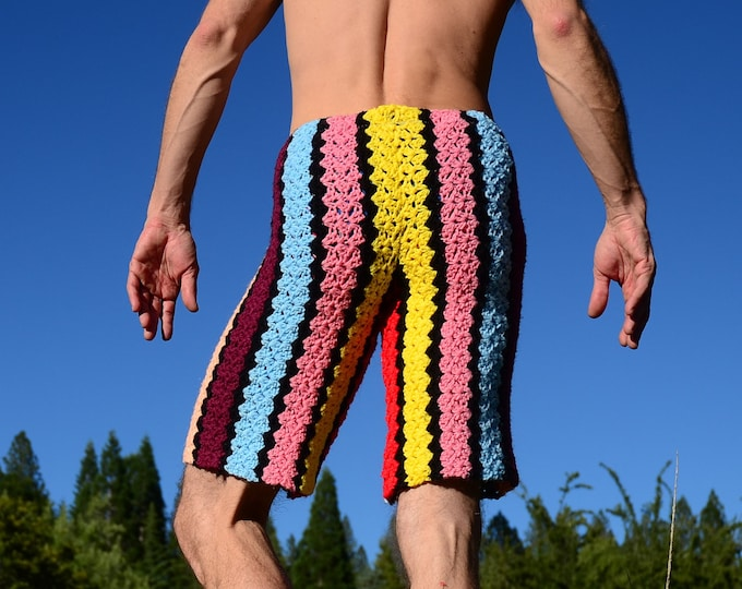 Crochet Shorts Multicolor Board Shorts Black Stripes S