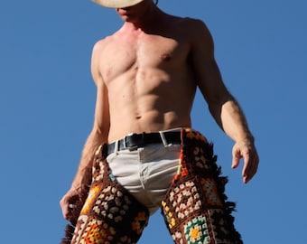 Crochet Chaps Cowboy Side Fringe 70's Disco Squares Wool L