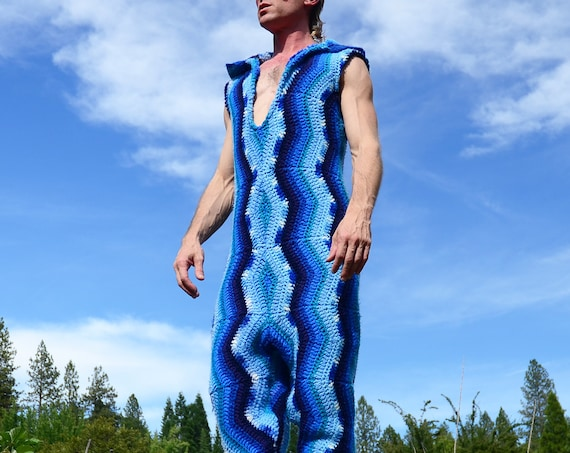 Crochet Onesie Shades of Blue Harem Pants