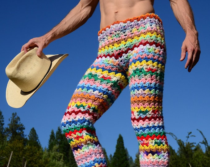 Crochet Pants Multicolor Leggings Stripes