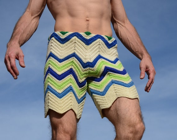 Crochet Shorts Blue Green and White ZigZag Points S