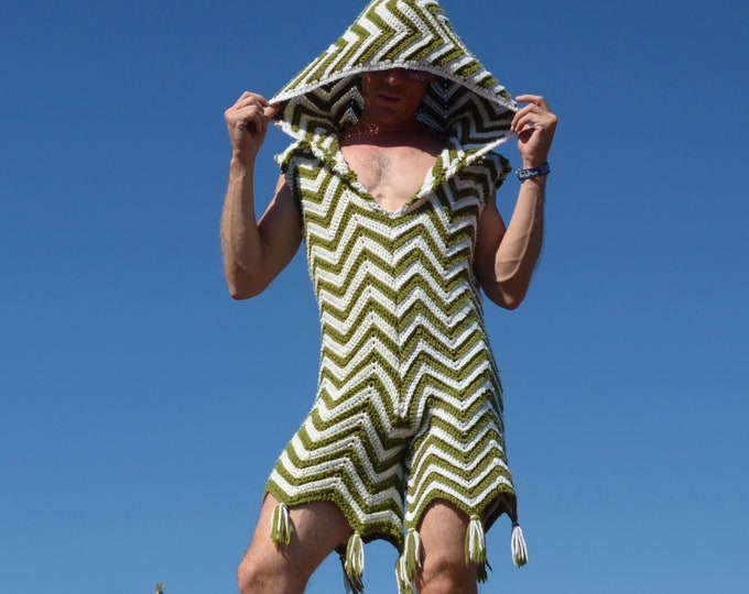 Crochet Onesie White and Olive Zigzag Stripes