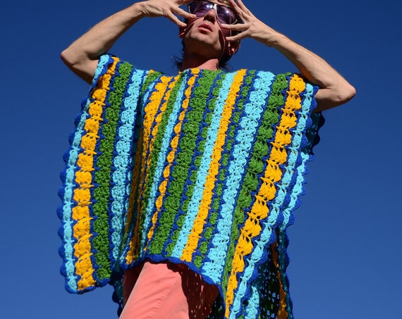 Crochet Poncho Green Blue and Yellow Butterfly
