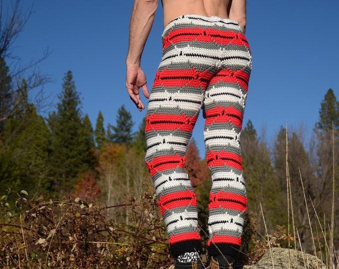 Crochet Pants Red White Stripes