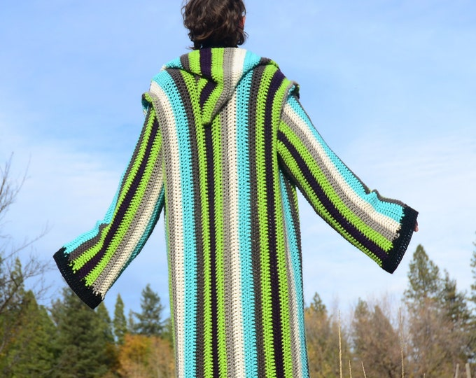 Crochet Sweater Hoodie Turquoise Jedi Black and White Stripe Super Soft Extra Large