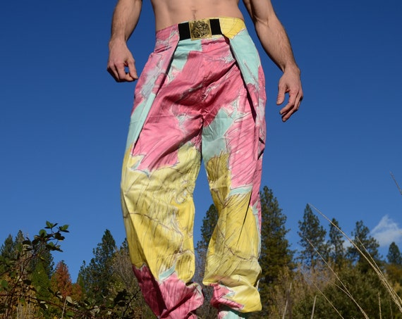 Hammer Pants 1980s Mercerized Cotton Pink Yellow Turquoise Splash Lord von Schmitt Originals