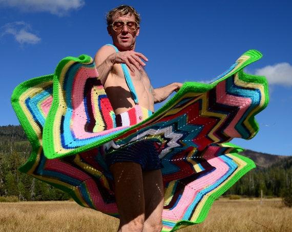 Crochet Rainbow Suspenders Skirt