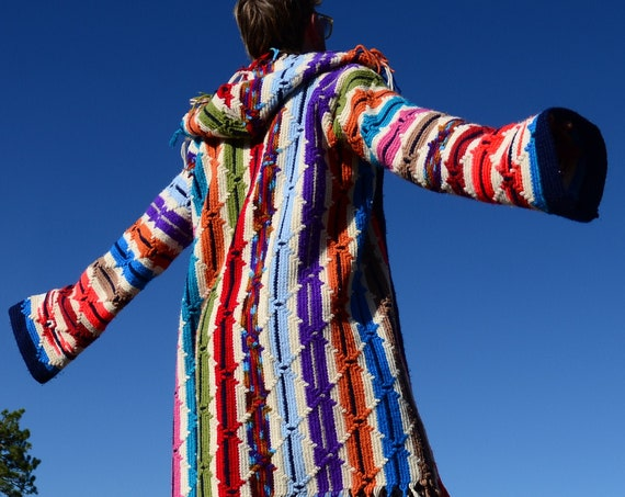 Crochet Sweater Hoodie Multicolor Apache Stripe Robe