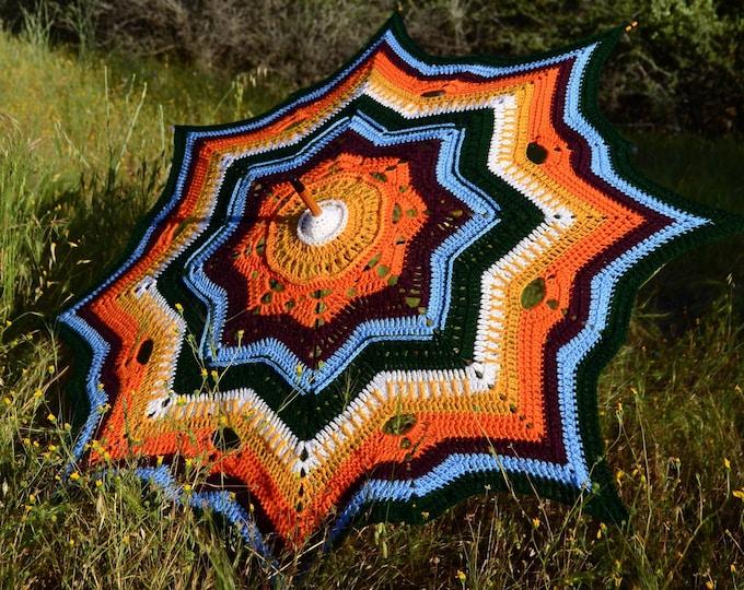 Featured listing image: Crochet Parasol Orange Sunshine Stars