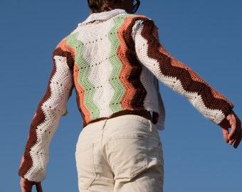 Crochet Sweater Green and Orange on White Chevron S
