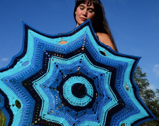 Crochet Parasol Shades of Blue and Turquoise