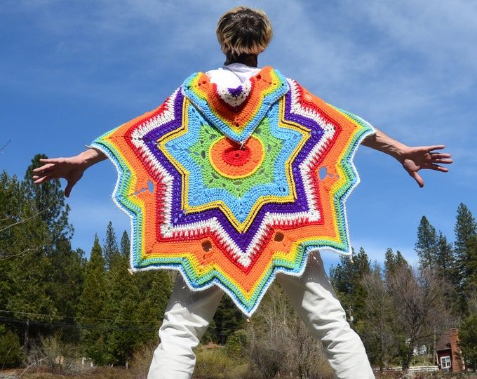 Crochet Cape Rainbow Stars