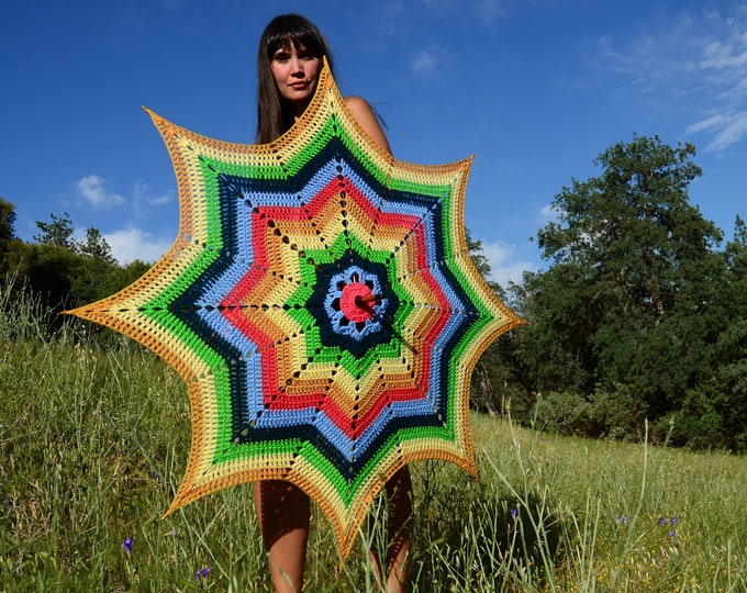 Crochet Parasol Rainbow Retro Star