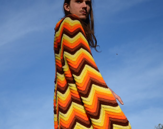 Crochet Cape Full Length ZigZags and Tassels