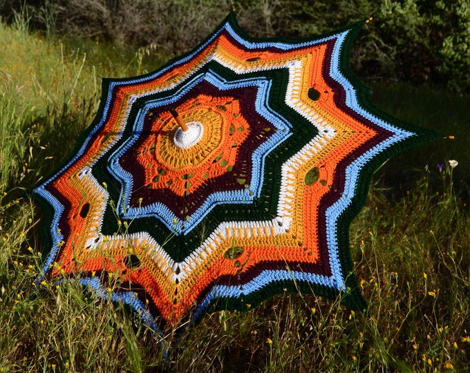Crochet Parasol Orange Sunshine Stars
