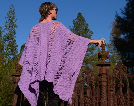Crochet Poncho Lavender Diamonds and Fringe