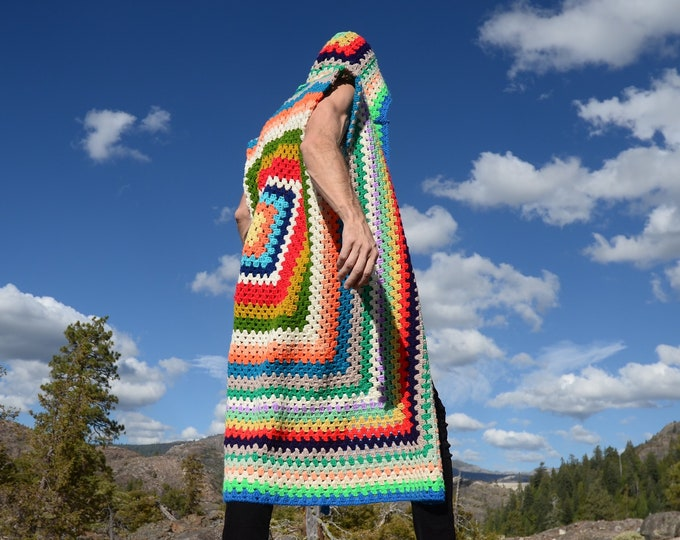 Crochet Vest Sleeveless Multicolor Stripes