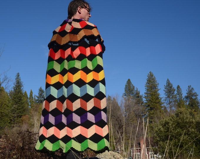 Crochet Cape Multicolor Falling Blocks 100% Wool