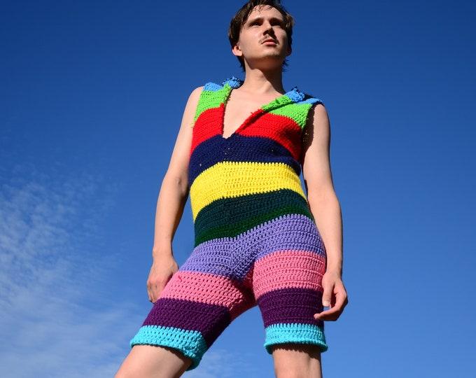Crochet Onesie Multicolor Stripes and Hoodie