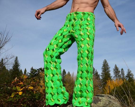 Crochet Pants Neon Green Swirls Psychedelic Pantalones