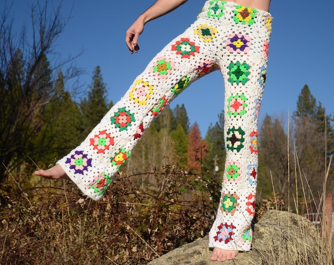 Crochet Pants White Granny Squares and