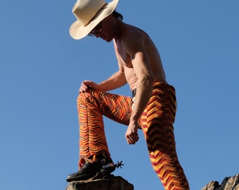 Crochet Chaps Cowboy Boot-Cut Wild Wool Disco Flares S