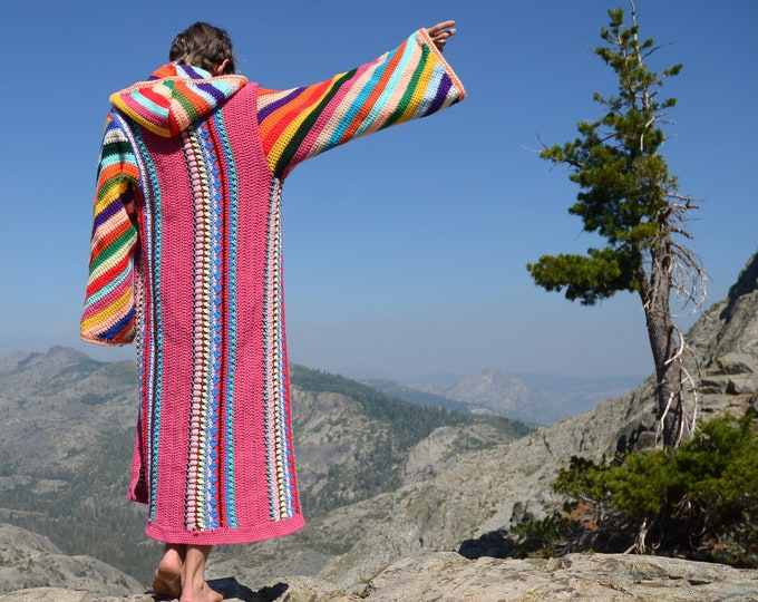 Crochet Sweater Robe Psychedelic Stripes and Diagonal Lines