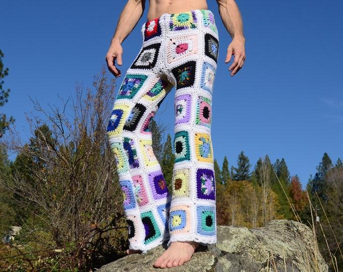 Crochet Pants White Winter Squares