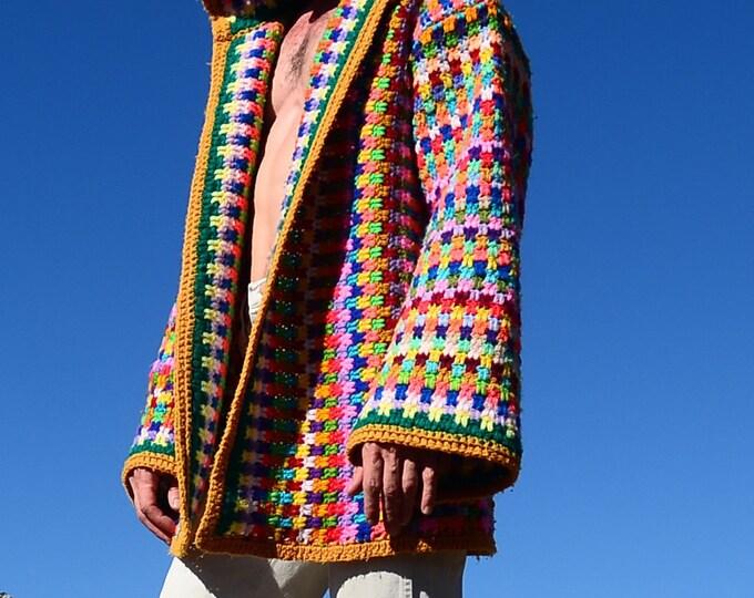 Crochet Hoody Vertical Rainbow Stripes