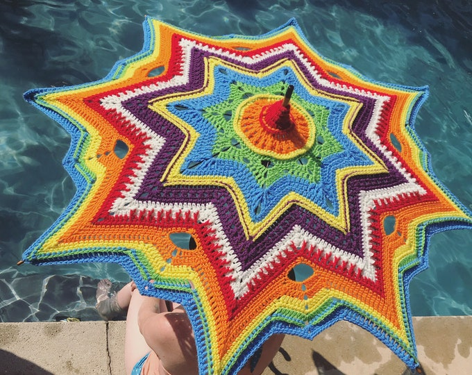 Featured listing image: Crochet Parasol Rainbow Stars