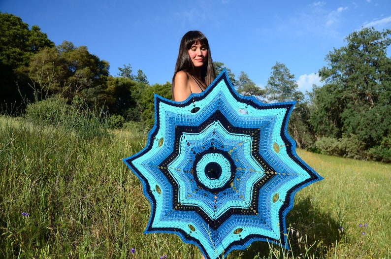 Crochet Parasol Shades of Blue and Turquoise image 0