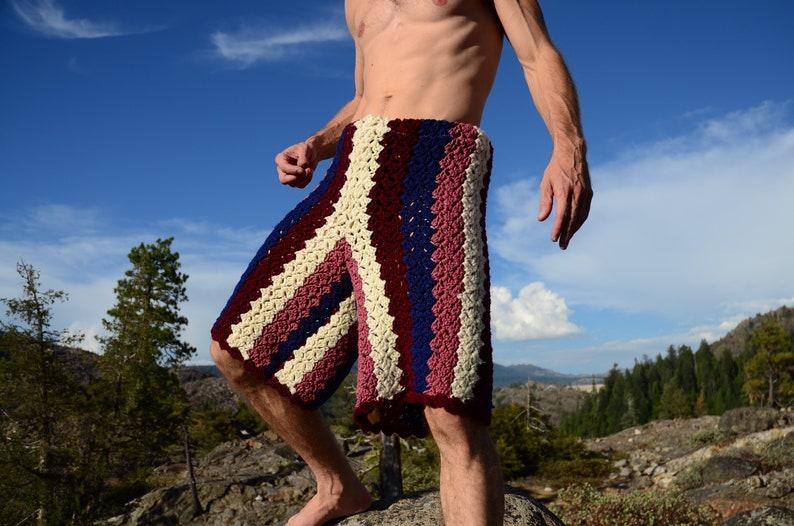 Crochet Shorts XL Long Board Stripes image 0